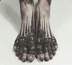 Cathedral feet tattoo, I would never do this unless it was to say how I desire Catholicism to fall!