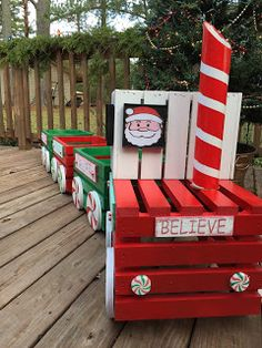 A  train made from wood crates. Makes a cute outdoor Christmas decor.