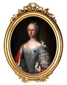 PORTRÄT WOHL DER MARIA CHRISTINA VON ÖSTERREICH (1742 WIEN - 1798) Öl auf Leinwand. 83 x 69 cm. In ovalem vergoldetem Rahmen mit Schleifenbekrönung....
