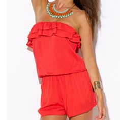 Coral Romper With Pockets Brand new with tags coral ruffle romper with pockets in size small. Top of romper is banded. Comfy and sexy for summer! Shorts