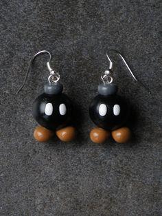 Boucle d'oreille thème jeux video en fimo Argent 925 : Boucles d'oreille par jl-bijoux-creation