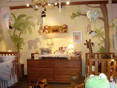 Jungle Nursery Themes For Your Baby's Room - Ideas For Designing A Jungle Theme Nursery Room Baby Bedroom, Baby Boy Rooms, Baby Boy Nurseries, Nursery Room, Baby Girls, Nursery Bedding, Girl Nursery, Jungle Baby Room, Jungle Theme Nursery