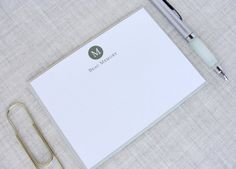 A classic stationery set perfect for anyone looking for a more formal stationery style. Personalized with your last name initial in the