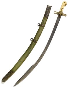 """Ottoman karabala hilt sword, late 15th to early 16th century blade, 18th century silver mounts bearing the tughra of Sultan Ahmed III (r.1703-30), steel blade inscribed in Arabic """"Although it lies in the belly of the scabbard, the sword only accomplishes its duty when it is naked"""", chiselled with split-palmette motif, marine-ivory hilt with silver-gilt cross guard with repoussé foliate motifs, scabbard with gilt-lock and chape decorated with engraved and punched floral stems."""