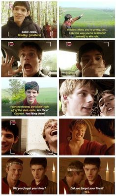 You must watch Merlin! Bradley and Colin for one, and the Merlin and King Arthur storyline secondly! Merlin Memes, Merlin Funny, Merlin Quotes, Merlin Cast, Watch Merlin, Merlin Tv Series, Netflix Series, Merlin Fandom, Bradley James