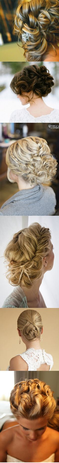 Bridal Updos - decorate them with hairvines, hairpins and slides, and combs. Love the braid in one of them