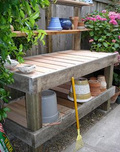 One Day Id Love A Potting Bench Like This One But I Would Add A Sink  (non Functional) To It With Bin Underneath To Catch The Dirt.   Gardening  And Patio