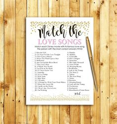 Bridal Shower Game Download - Match the Love Songs - PINK and GOLD - Instant Printable Digital Download - diy Disney Songs Glitter Confetti
