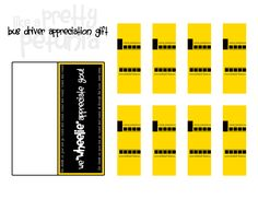 School bus printable candy wraps. Back to school favor or Teacher /bus driver appreciation gift.