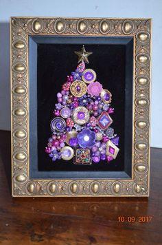 Christmas Tree Vintage Jewelry Collage 7 x 9 frame rhinestones purple