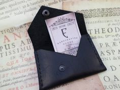 Black Leather Wallet Card organizer hand stitched by ArtNotebooks