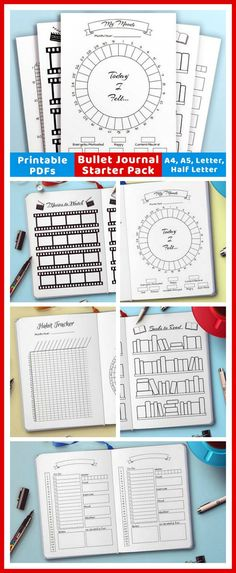 Bullet Journal Insert Starter Pack Printables- Printable bullet journal insert bundle- bujo trackers and logs to help you organize, plan, and record your life! Whether you're new to bullet journaling, or just want a bunch of fun new inserts to use, this b Bullet Journal A4, Bullet Journal Workout, Bullet Journal Starter Kit, Bullet Journal Printables, Journal Template, Bullet Journal Junkies, Book Journal, Art Journals, Planner Template