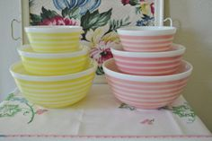 Vintage Rainbow Stripe Pink and Yellow Pyrex Bowls