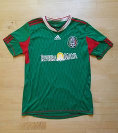 db252c302 Adidas Maya Riviera Mexico Soccer Jersey Green Red Futbol Shirt 2010 World  Cup