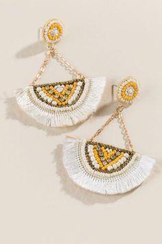 Hattie Beaded Tassel Earrings