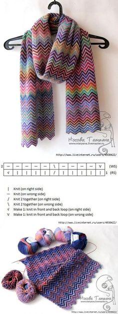 Crochet Patterns Cowl Scarf a la Missoni knitting. Knitted Shawls, Crochet Scarves, Crochet Shawl, Knit Crochet, Knitting Patterns, Crochet Patterns, How To Purl Knit, Knitting Stitches, Knitting Needles