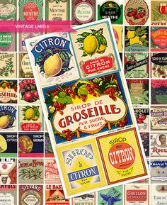 Vintage Drink Labels - A Flickr Set of High Res Clip Art Labels (scanned original labels). Great for labeling your own bottles and art pieces. Be sure to check out her other amazing sets!