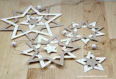 Stars_basteln-stampinup_big Shot - Joleen Home Christmas Leaves, Paper Christmas Ornaments, Easy Christmas Crafts, Big Shot, Decor Crafts, Diy And Crafts, Montessori Art, Paper Flower Tutorial, Hannukah