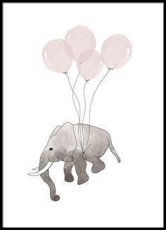 Poster mit einem fliegenden Elefanten und rosa Luftballons.