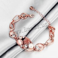 comeon® Jewelry Bracelet, Zinc Alloy, with Cats Eye & Glass Pearl, with 2lnch extender chain, real rose gold plated, with rhinestone, nickel, lead & cadmium free, 23mm,china wholesale jewelry beads