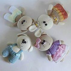 вязаные мишка, кошечка, зайка и собачка :)Описание вязания мишки Автор: Юлия Мусатова