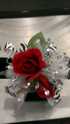Designed for customer...Zebra ribbon and Red Roses...Robin Evans