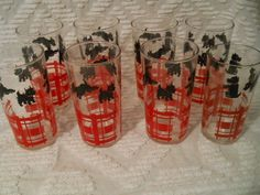 FEDERAL SCOTTY DOG LOT 6 9 OZ.GLASSES/TUMBLERS ONE 7 OZ,BLACK RED ON CLEAR GLASS