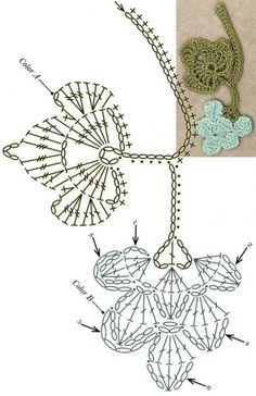 No 61 grapevine lace crochet motifs 포도덩굴 모티브도안 Marque-pages Au Crochet, Crochet Puff Flower, Crochet Leaves, Crochet Motifs, Crochet Flower Patterns, Freeform Crochet, Crochet Diagram, Crochet Chart, Thread Crochet