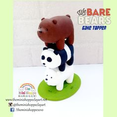 POLYMER CLAY Handmade We Bare Bears Cake Toppers Polymer Clay Cake, We Bear, We Bare Bears, Bear Cakes, Clay Art, Creative Ideas, Biscuit, Cake Toppers, Teddy Bear