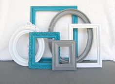 Teal, Grey White Vintage Picture Frames Set of 6 - Upcycled Frames with GLASS Modern Bedroom Decor Peacock Blue Gray Home Decor. Perfect for my master bedroom. Grey Home Decor, Modern Bedroom Decor, Modern Decor, Peacock Bedroom, Peacock Decor, Peacock Blue, Vintage Picture Frames, Picture Frame Sets, Vintage Frames