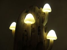 Bring the autumnal atmosphere into your home with mushroom mood lighting. Magical Mushrooms & Driftwood Lighting by StairLodgeSupplies, $60.00