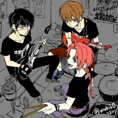 Rock band Okikagu Doujinshi, Gintama Wallpaper, Bendy And The Ink Machine, Kuroko, Anime Chibi, Akatsuki, Manga, Art Inspo, Anime Characters