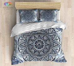 Bohemian bedding, Indian ethnic floral mandala duvet cover set, Hand drawn mehndi mandala duvet cover set, Indian mandala bedspread