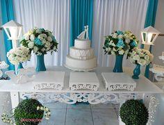 Aluguel Decoração Casamento Noivado Azul Tiffany em Provençal. Decorações de primeira classe, locação de móveis provençais e serviços realizad