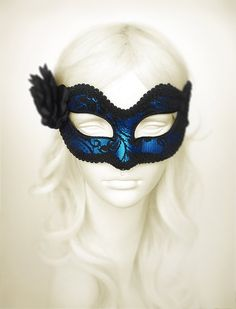 Metallic Blue & Black Lace Masquerade Mask - Blue Venetian Mask With Feathers And Rose - Blue Lace Masquerade Ball Mask - Black Lace Mask Metallic Blue, Black Satin, Blue Gold, Lace Masquerade Masks, Masquerade Costumes, Masquerade Party, Masquerade Attire, Halloween Costumes, Blue Mask
