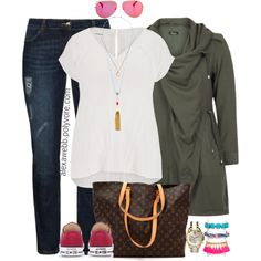 A fashion look from August 2015 featuring maurices tops, Jette jeans and Louis Vuitton tote bags. Browse and shop related looks. Fall Outfits For Work, Casual Winter Outfits, Classy Outfits, Outfits For Teens, Cool Outfits, Curvy Outfits, Plus Size Outfits, Fashion Outfits, Plus Size Girls
