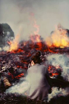 She was nervous. Not nervous of the fire and heat crawling towards her, but nervous of what it did to her. She didn't burn, but she changed. Changed into something not human.
