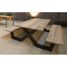 Picnic table with solid teak wood benches and aluminum legs – La Galerie d … - Home And Garden Welded Furniture, Timber Furniture, Iron Furniture, Steel Furniture, Industrial Furniture, Home Furniture, Modern Furniture, Furniture Design, Cardboard Furniture