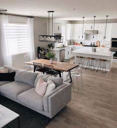 has a beautiful modern space featuring the Aquarius II Light Grey 2 Pc Sectional With Left Arm Facing Chaise. Open Kitchen And Living Room, Open Plan Kitchen Dining, Home Living Room, Living Room Designs, Dining Room, Dining Living Room Combo, Dining Table, Living Spaces Furniture, Apartment Furniture