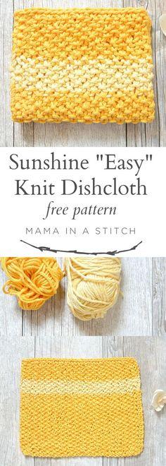 Easy Knit Waschloth Pattern – Sunshine Washcloth via @MamaInAStitch This free knitting pattern for an easy dishcloth is so simple! #diy #tutorial