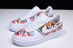 "Nike Air Force 1 Low ""International Flags"" White/Multi-Color Men's and Women's Size Nike Shoes Air Force, Nike Air Force Ones, Nike World, Af1 Shoes, Custom Shoes, Nike Custom, Baskets, Custom Air Force 1, Nike Kicks"