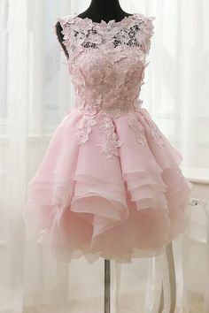 Princess Prom Dresses, 2019 A Line Scoop Organza With Applique Short/Mini Homecoming Dresses, Plus Size Formal Dresses and Plus Size Party Dresses are great for your next special Occassion at cheap affordable prices The Dress Outlet. Floral Homecoming Dresses, Hoco Dresses, Short Bridesmaid Dresses, Pretty Dresses, Sexy Dresses, Evening Dresses, Formal Dresses, Pink Dresses, Light Pink Homecoming Dresses