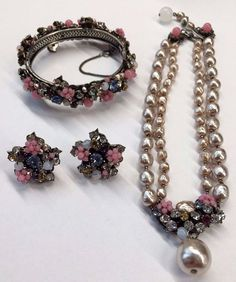 Fabulous VTG Miriam Haskell Faux Pearl Rhinestone Necklace Bracelet Earrings  #MiriamHaskell