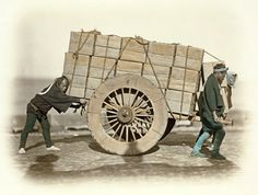 Shariki, or cart pushing coolies, ca. 1870s by Felice Beato