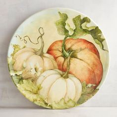 Fruit Painting, China Painting, Ceramic Painting, Thanksgiving Table Settings, Thanksgiving Decorations, Pottery Plates, Ceramic Pottery, Pumpkin Vegetable, Fish Plate
