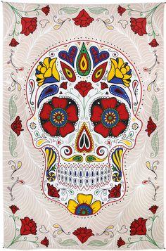 High Quality Skull Bone Beach Towel Mat Blanket Printed Bed Cover Curtain Or Table Cloth Wall Hanging Tapestry Wall Bedspread 19 Mexican Skulls, Mexican Art, Crane, Motifs Aztèques, Deco Boheme, Art Bag, 3d Drawings, Beach Wall Art, Skull And Bones