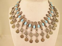 Ethnic Sterling Silver 925 Turquoise Necklace Tribal by BADTIQUE $69.85