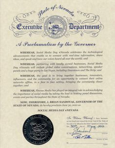 #nevadaproclamation signed by @BrianSandoval & @RossJMiller proclaiming 6/30 #SocialMediaDay #Nevada follow @smdaylv for local event news.
