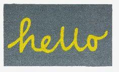 MONOQI   Hello Door Mat - Yellow/Grey
