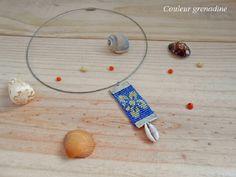 Collier ras de cou perles tissées miyuki fleur de tiaré coquillage